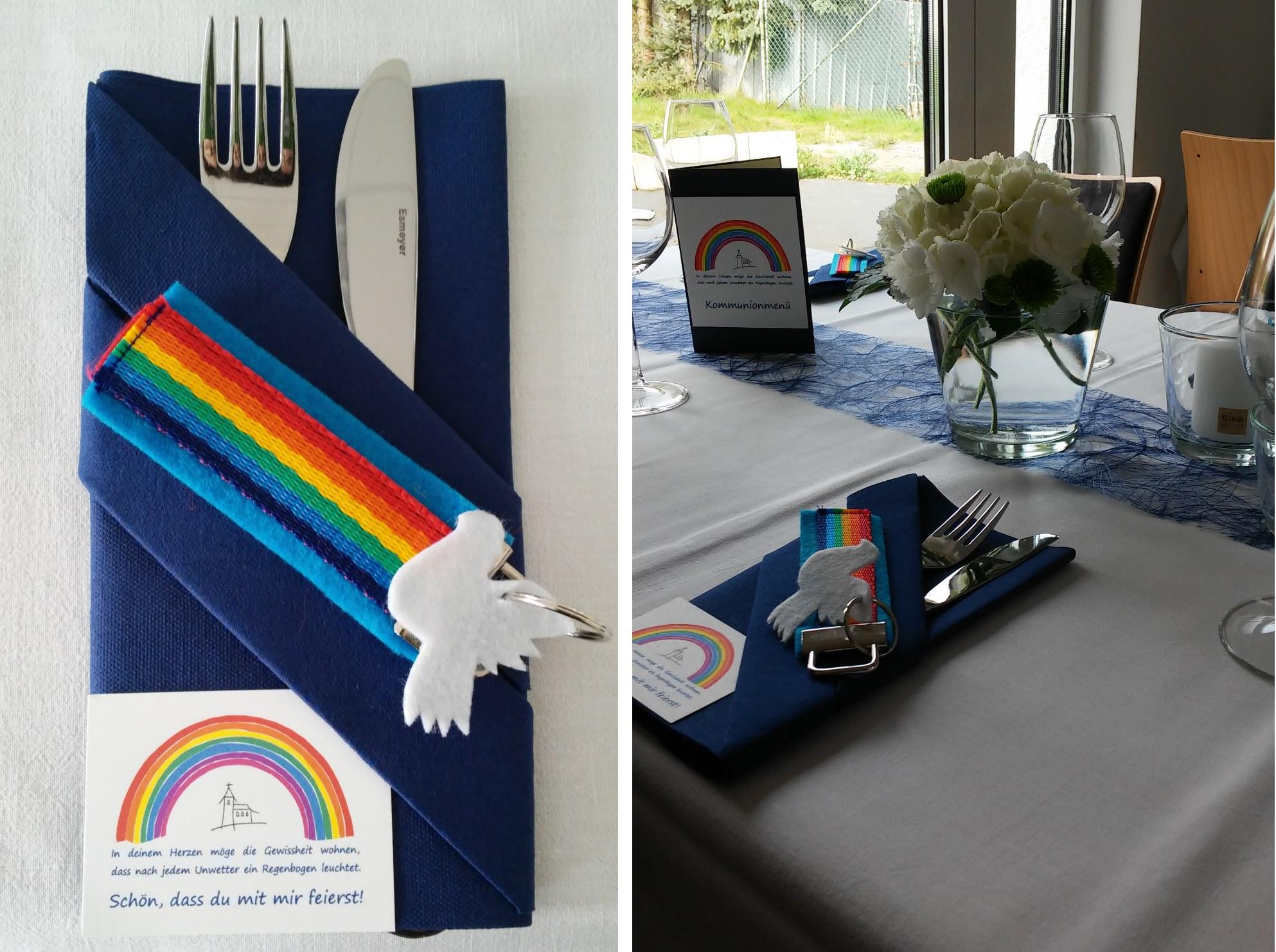 kommuniondekoration regenbogen die kartenwerkstatt aus liebe zum papier. Black Bedroom Furniture Sets. Home Design Ideas