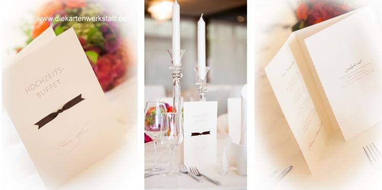 Menükarten zur Hochzeit mit brauner Schleife edel klassisch