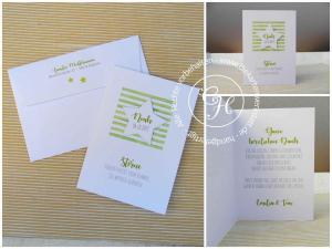 Danksagung zur Geburt Stripes in grün mit Stickstern