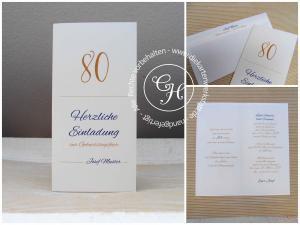 Einladung 80 ocker/blau hochkant