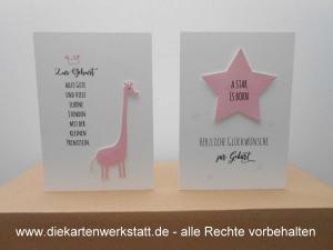 Grußkarte naturelle mit rosa Motiven, Giraffe oder Stern