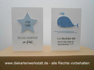 Grußkarte zur Geburt naturelle mit blauem Stern oder Wal