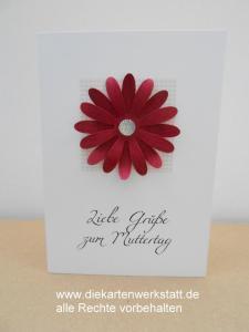 Grußkarte zum Muttertag mit roter Gerbera