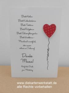 Grußkarte zum Muttertag mit Herzballon und Text