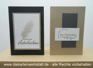Trauerkarten hochkant, edel mit Stempelmotiven, schwarz und kraftgrau, TK 1