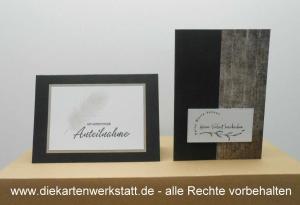 Trauerkarte hochkant und quer mit gestemptelten Motiven, TK 3
