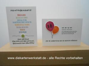 Glückwunschkarte zur Volljährigkeit Smile / Luftballons