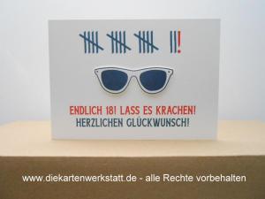 Grußkarte zur Volljährigkeit - Sonnenbrille