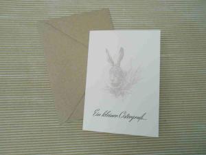 Osterkarte mit gezeichnetem Hasen