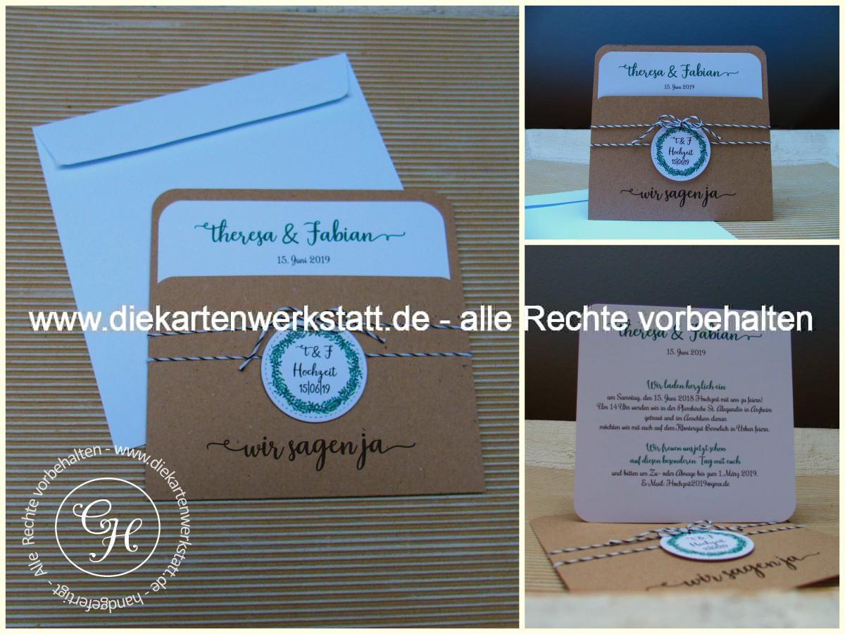 Quadratische Einsteckkarte mit Tasche aus Kraftpapier und Bäckerkordel