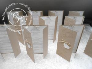 Hochzeitsmenükarte aus Kraftkarton mit Kordel und Herz