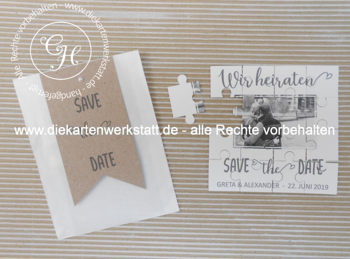 Save the Date Karte als Puzzle im Tütchen
