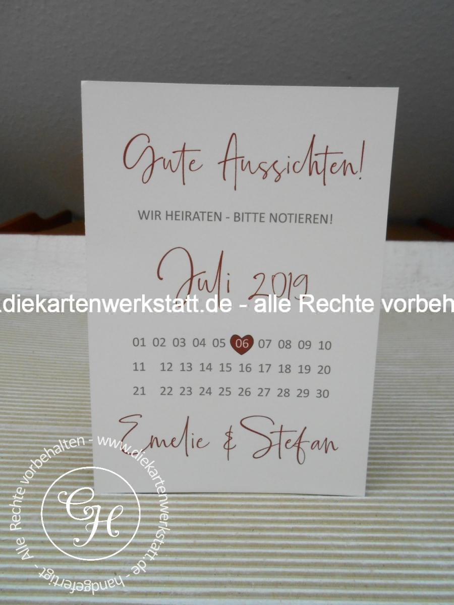 Save the date Karte schlicht mit Kalenderblatt