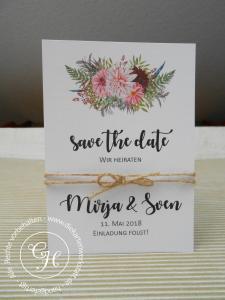 Save the date Karte mit Blumenbouquet und doppelter brauner Kordel