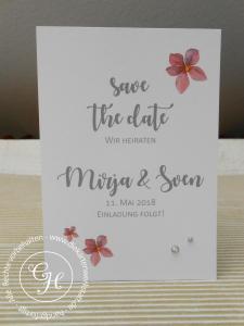 Save the date Karte mit Watercolor Blumen und Strass-Steinchen - ein Hingucker