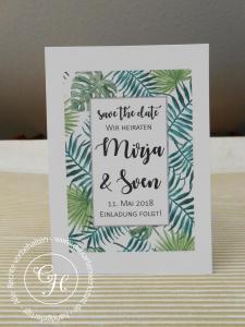 Save the date Karte mit rechteckigem greenery leaf Motiv