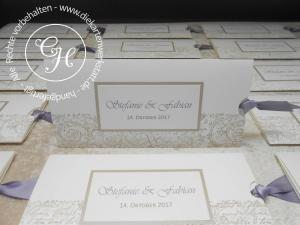 Einladung mit Manschette, Auszug rechts und Vintagestempelborte