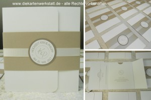 Hochzeitseinladung im Pocketstil mit Banderole in taupe metallic und rundem Emblem