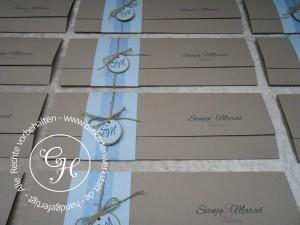 Hochzeitseinladung langes Sonderformat natur blau