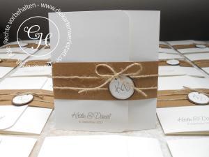 Hochzeitseinladungen Kraftpapier
