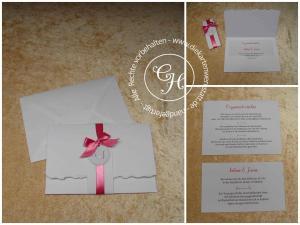 Taschenkarte B6 aus weißem Leinenkarton mit rosa Schleife