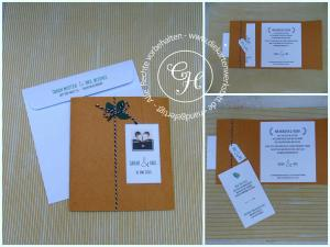 Einladung aus Kraftpapier mit ausgestanztem Blatt, Kordel und Magnetverschluss