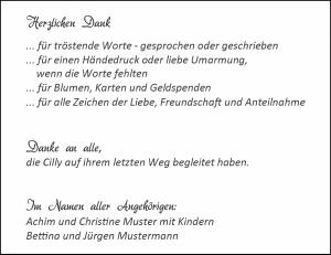 Trauerdank Textmuster 3