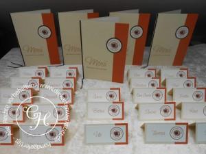 Kommunion Menü- u. Tischkarte Hände orange