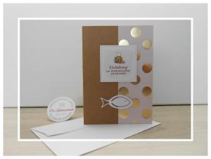 Kommunion-Einladung-Goldpunkte-Fisch-Kraftpapier