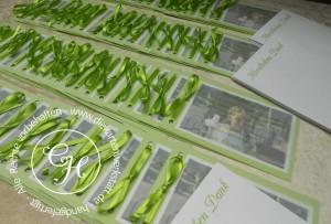 Kommuniondanksagung quer Transparentabdeckung grüne Schleife